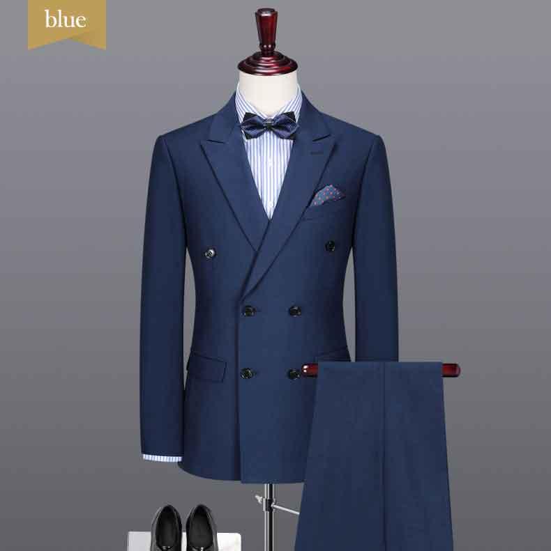 ファッションメンズブレザードレスデザインネイビーブルーダブルブレストボタンスリムフィットメンズスーツ