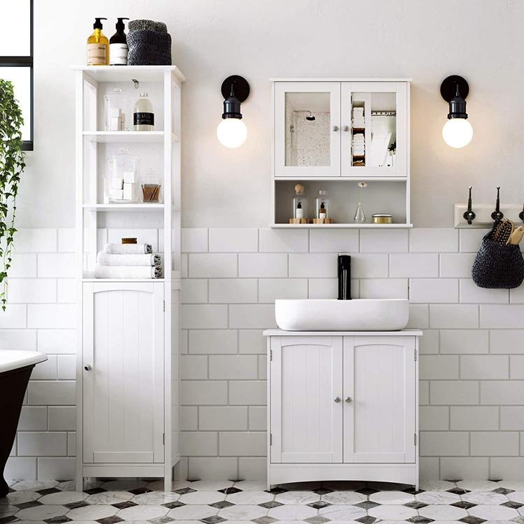 Vasagle Weiß Unter Waschbecken Schrank Badezimmer Boden ...