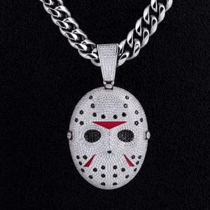 KRKC&CO Horror Halloween jewelry Mens Iced Out Custom Pendant Jason Voorhees Mask Pendant Custom Pendant