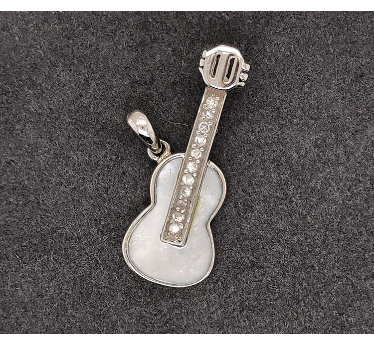 product-BEYALY-Delicate Carved Guitar Unisex Silver Pendant Hiphop Necklace-img