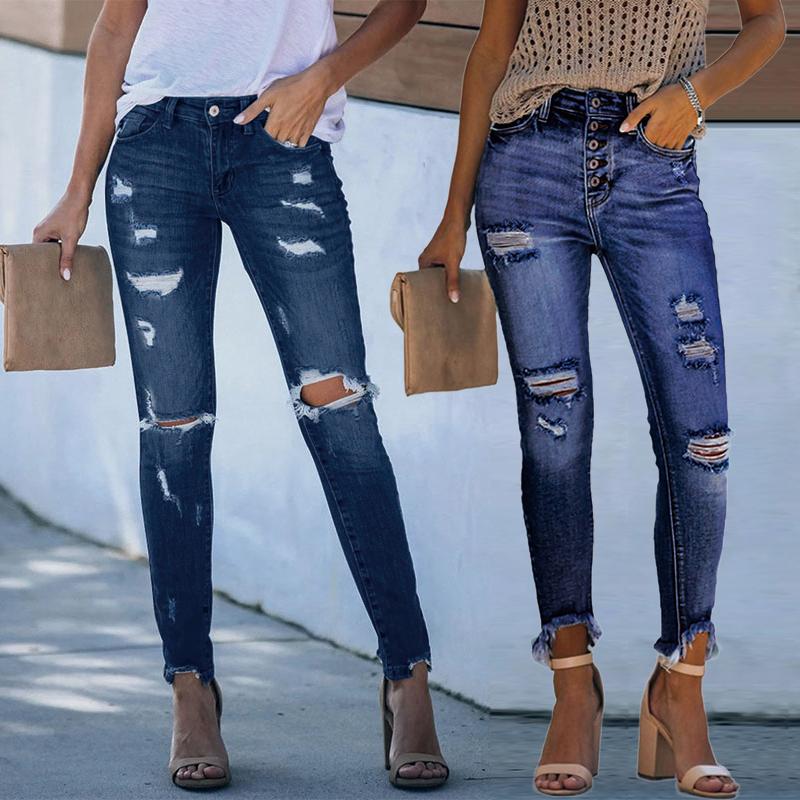 Pantalones Vaqueros Ajustados Para Mujer Pantalon Vaquero Azul Claro Desgastado Buy New Arrivals Women S Jeans Skinny Denim Jeans Women Pantalones Ripped Jeans Women Product On Alibaba Com
