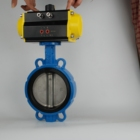 control valve DIN DN100 Ductile iron Resilient Seat Double wafer pneumatic actuators Full Rubber butterfly Valve