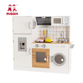 role play pretend wooden kids play toy deluxe kitchen set play food with refrigerator, freezer, oven and microwave