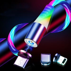 2M 1M LED Glow Flowing Magnetic Fast Charger 3 in 1 USB Cable IOS TYPE-C Micro USB Magnet Charging cord for iPhone for Xiaomi