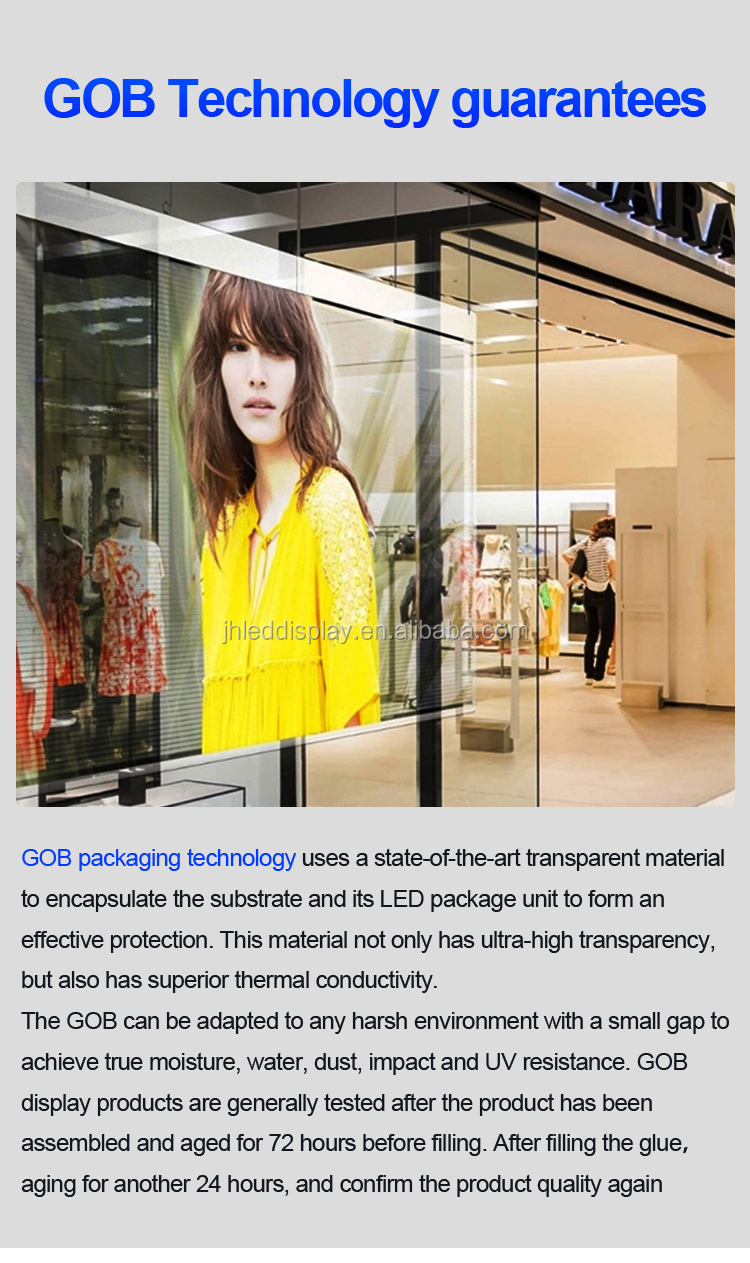 Indoor Super Slim HD P3.91-7.8 Transparent  Glass Advertising Led Curtain Display Screen for shop video wall