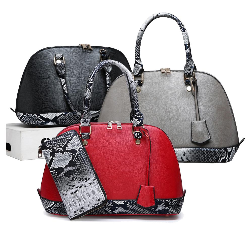 Wholesales PU leather Totes Bag 2pcs in 1 Set Handbag Plus Wallets For Women Snake Skin Hand Bags Sets