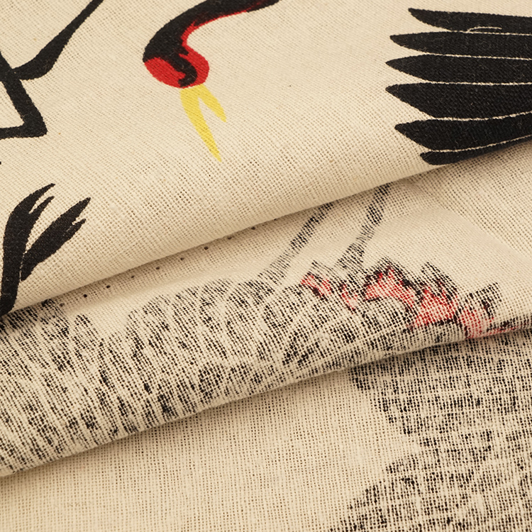 High Quality 100% Cotton Printed Crane Pattern Clothing Home Textile Fabric