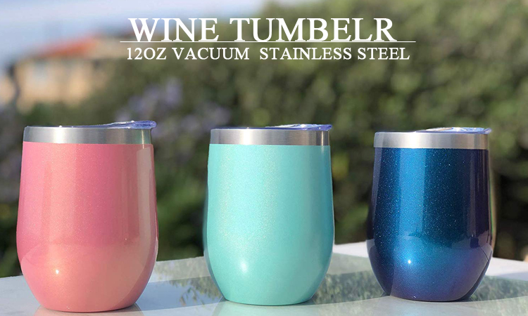 Stemless Wine Glass Tumbler 12 oz Stainless Steel Double Wall Vacuum Insulated Wine Cup with Lid Travel Friendly
