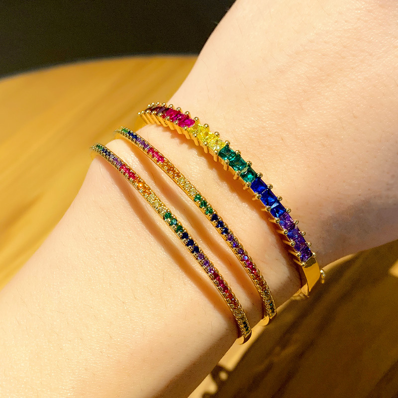 Rainbow CZ Stone Gemstone Tennis Bracelet Cuff Micro Pave Zircon Bangle Bracelet for Women