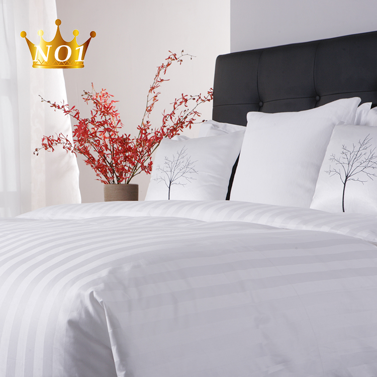 Free Sample Luxury Designs Satin Stripe 100 Egyptian Cotton Single Bedding Linen Sheet <strong>Set</strong> White Bed Sheets Hotel
