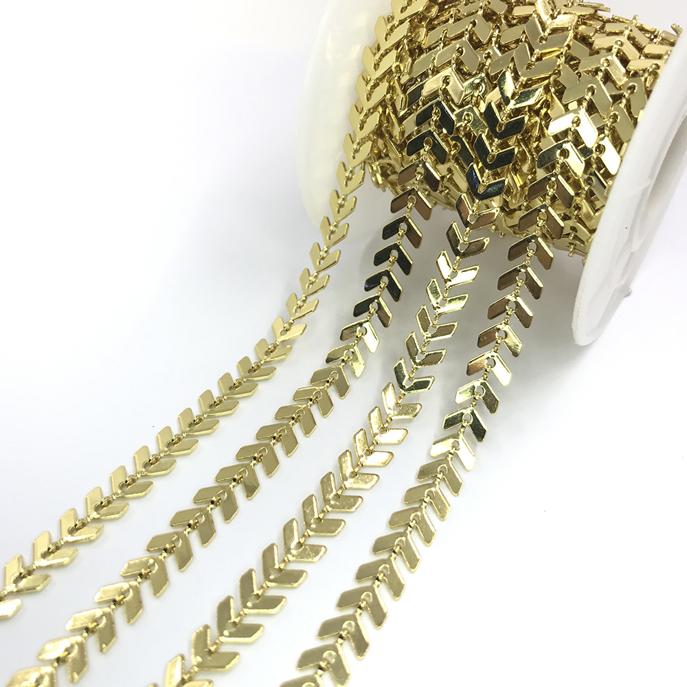 Wholesale Bulk Sale Brass Chain Gold Plated Necklace,Crystal Beads Roll Chains For Jewelry Making