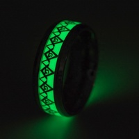 Stainless Steel Jewelry Tungsten Steel Masonic Church Fluorescent Men's Ring Luminous Glowing Ring
