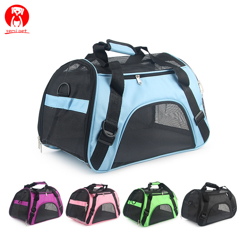Soft-sided <strong>Carriers</strong> Portable Pet <strong>Bag</strong> Pink <strong>Dog</strong> <strong>Carrier</strong> <strong>Bags</strong> Blue Cat <strong>Carrier</strong> Outgoing Travel Breathable Pets Handbag