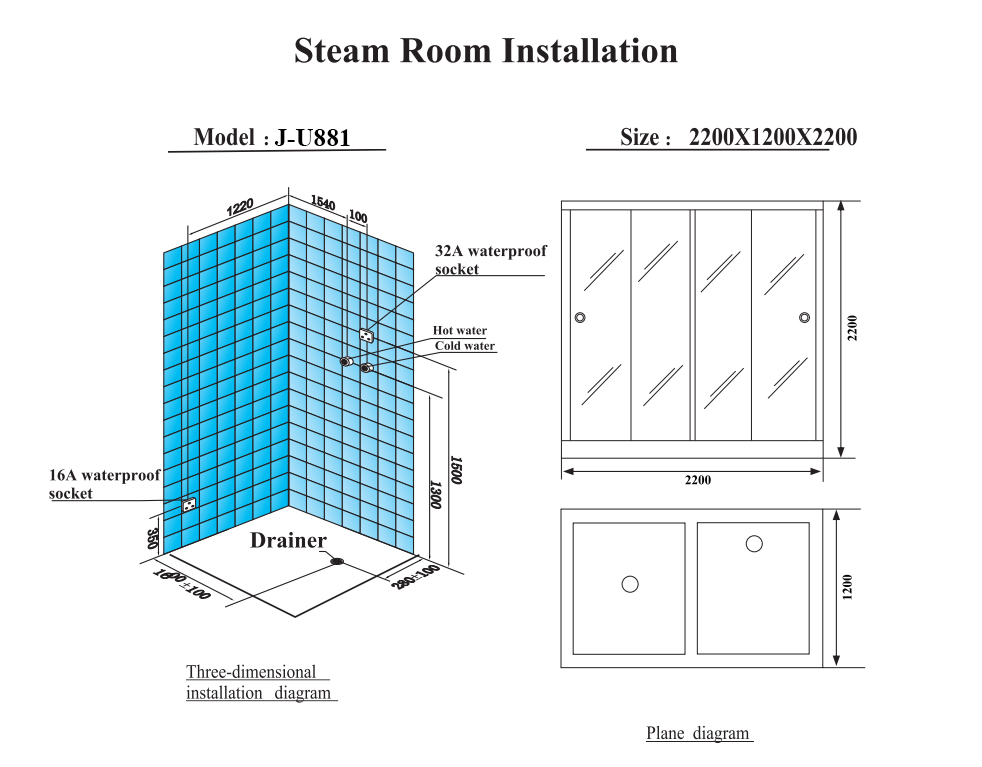 JOYEE Hot sale factory price 2 Person sexy two zone canada hemlock wood wet steam sauna shower enclosure room for couple