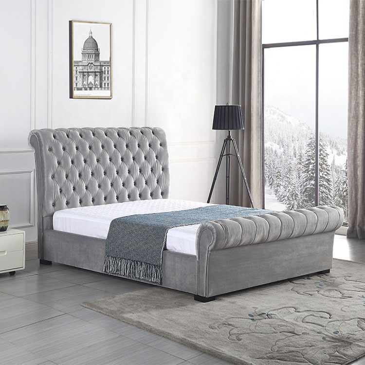 Nordic california king bed storage ottoman new design top fabric solid wood single double king size bed fabric raised single bed