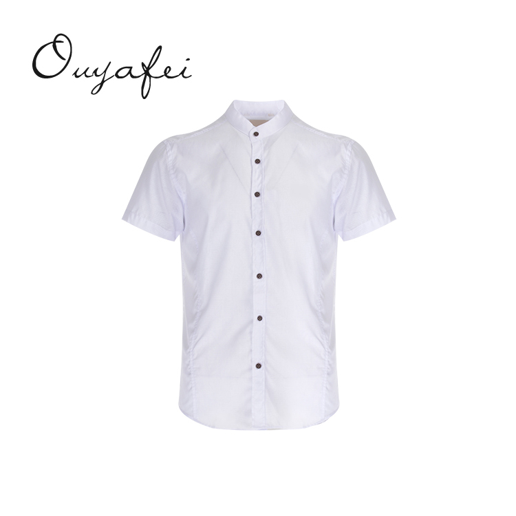 Elegant fitted solid color yarn dyed twill white men's shirts 100% cotton for sale
