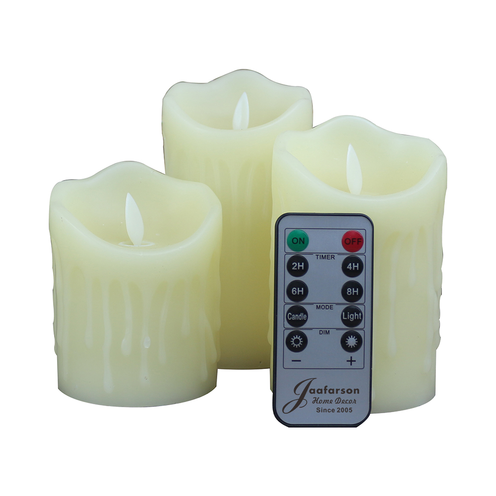 LED Flameless Flickering Candles with 10-Key Remote Control,Real Wax Moving Wick Pillar Candles for Wedding Christmas Home Party