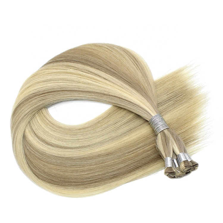 Double Drawn Human Extension Hand Tied Virgin European Remy Hair Weft
