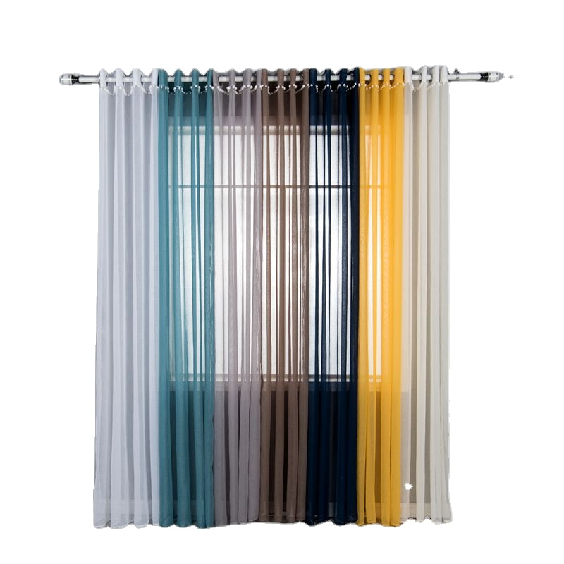 <strong>Home</strong> Decor Window <strong>Curtain</strong> Grommet Solid Tulle Sheer <strong>Curtain</strong> with white ball
