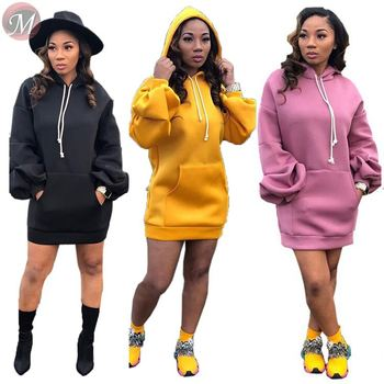 9090501 2019 casual autumn new solid color hooded Lantern long sleeve women fashion hoodie dress