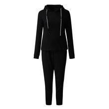 Womail спортивный костюм женский осенний полосатый комплект из двух предметов Женская толстовка с капюшоном длинные штаны Клубные костюмы Ко...(Китай)