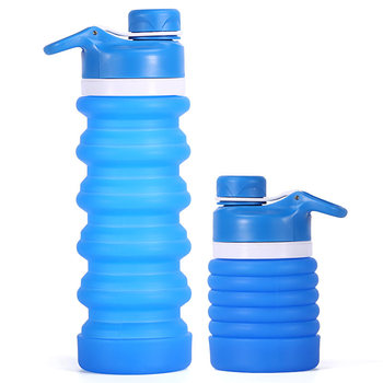 Custom Made Non-Toxic BPA Free Collapsible Silicone Filtering Water Bottle