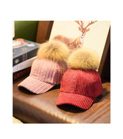 Winter Fashion Lady Korea Style Coarse Corduroy Cap with Raccoon hair bulb
