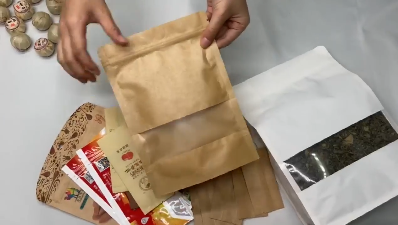 Custom Flat Bottom Food Bags With Clear Window Washable White Ziplock Mailing Stand Up Packaging Brown Kraft Paper Zipper Bag