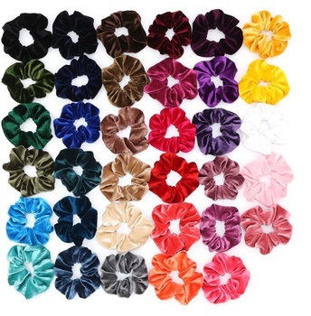 Top Selling Unique Design Gradient Colorful Elastic Scrunchies Hair Ring Hair Ties For Women Girls