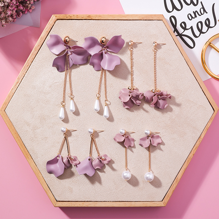 2020 spring boho fashion jewelry pink <strong>flowers</strong> car jewelry Fashion <strong>gold</strong> pink <strong>flower</strong> <strong>earrings</strong> with pearl