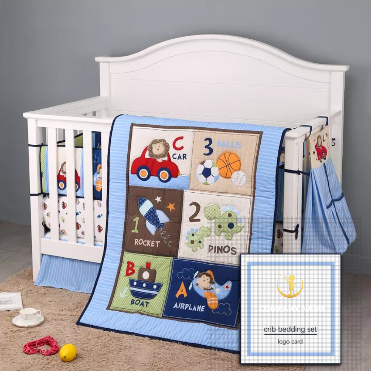 Blue Crib Bedding Sets For Boys 7 Piece Travel Car And Airplane For Baby Buy Bedding Sets For Kids Navy Blue Bedding Set European Baby Bedding Set Product On Alibaba Com