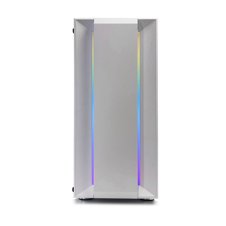 JNP-CH03 White Injection Sand Texture Handcraft ABS Plastic RGB Flowing Belt Panel Air Cooling Fan Gaming Computer