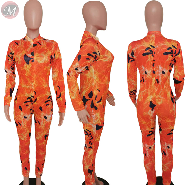 9120523 new casual net fabric printed long sleeve bodycon jumpsuits Rompers High Womens Fashion Clothing