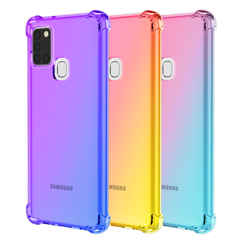 Hot For Samsung Galaxy A21S Phone Case Shockproof Slim Grip Soft TPU Gradient Color Clear Back Cover Coque For Samsung A21S