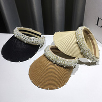 New Design female visor hat handmade empty top straw pearl hat outdoor summer sun travel beach fashion ladies hat