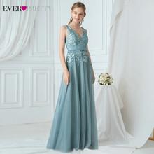 Элегантные Синие платья для выпускного вечера Ever Pretty EP00845DB А-силуэта с двойным v-образным вырезом и аппликацией без рукавов, тюлевые вечерни...(Китай)