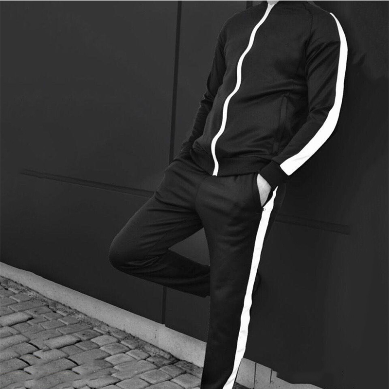 Wholesale Men Casual zip up bomber jacket with white side tape polyester TrackSuit