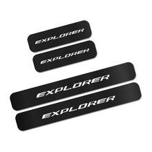 Накладка на порог автомобиля для Ford Explorer, 4 шт., накладка на пороги из углеродного волокна, защита от царапин, наклейка, тюнинг автомобиля, акс...(Китай)