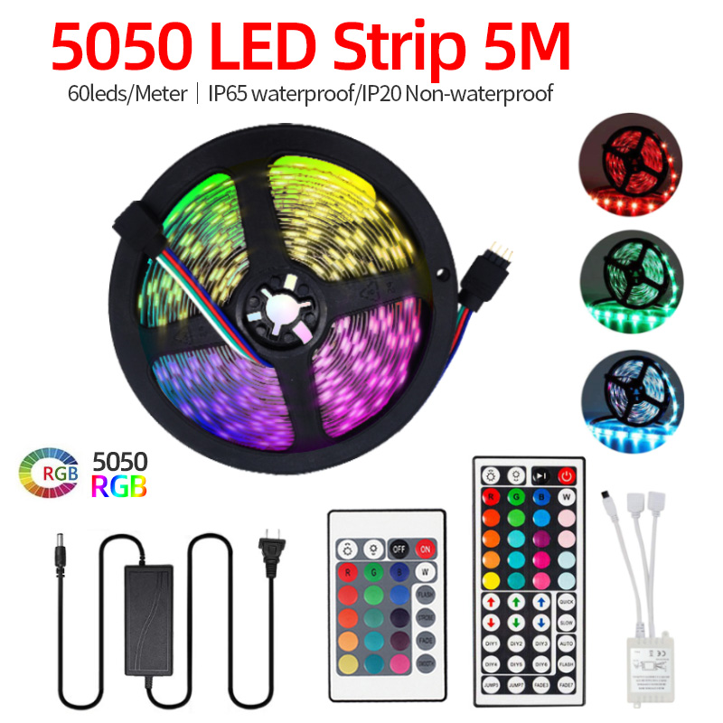 5m Amazon Supplier waterproof RGB  Activated LED Light Strip 5050 RGB Rope Light  60 Leds/M 24/44 Keys Remote