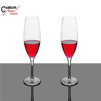 New products handmade clear 280ml lead-free crystal rose gold rim champagne flutes with silver logo