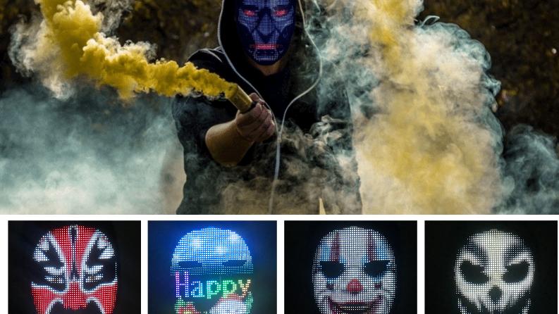 RGB Waving Gesture Sensing Bluetooth APP Programmable Face Changing Led Display Maskes Clown Ghost Skeleton Halloween Decoration