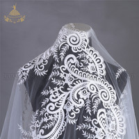 nylon tulle jacquard polyester beaded embroidery sequin cotton textile material 3d knitted printing lace fabric