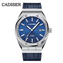 Мужские автоматические механические часы CADISEN, синие водонепроницаемые повседневные светящиеся наручные часы, 100 м(Китай)