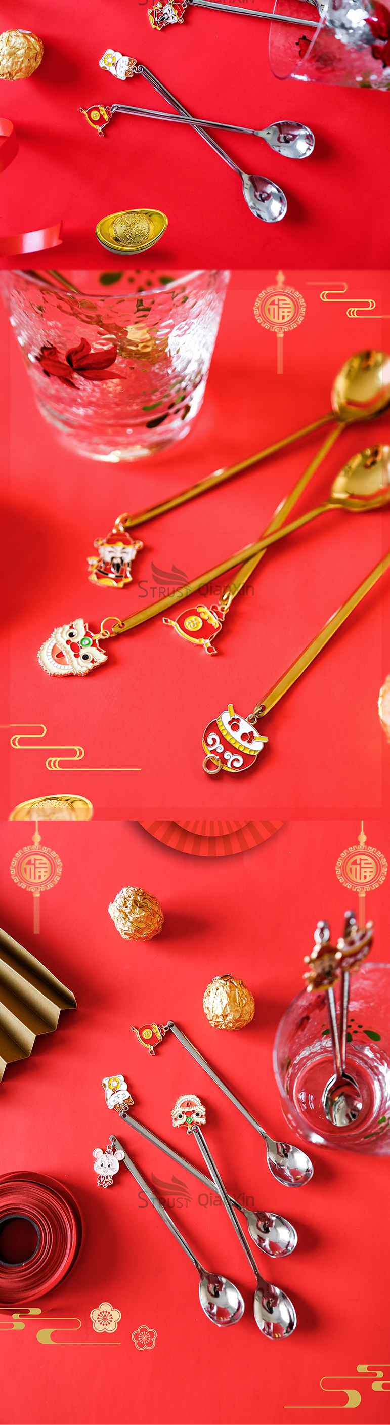 Chinese new year gift box gold coffee spoon gifts teaspoon set for new year party