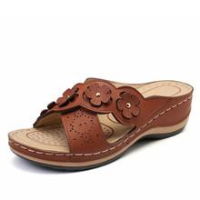 MCCKLE Женщины Клин Тапочки Vintage Выдалбливают Открытым Носком Повседневная Обувь Женщина Швейные Легкие Женские Платформы Комфорт Дамы Лето(Китай)