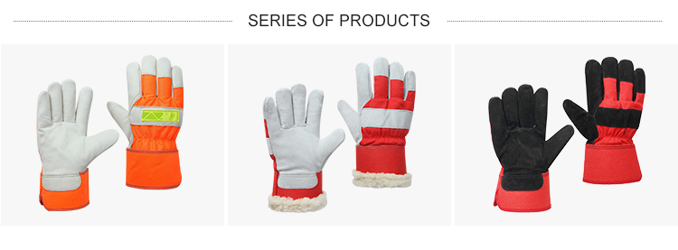 Wholesale custom cow split leather protection hand warm labor heavy duty working safety gloves