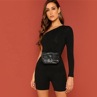 Wholesale Black Sexy Jumpsuits Short for Women Long Sleeve Fitness Rompers Women Jumpsuit Female Streetwear summer playsuit