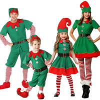 Adult children Women And Men Christmas Santa elf clothes cosplay Green costume QHGC-0093
