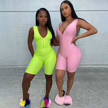 2020 Musim Panas Neon <span class=keywords><strong>Rompers</strong></span> <span class=keywords><strong>Wanita</strong></span> Jumpsuit Zipper V Leher Satu Piece Bodycon Sexy Jumpsuit