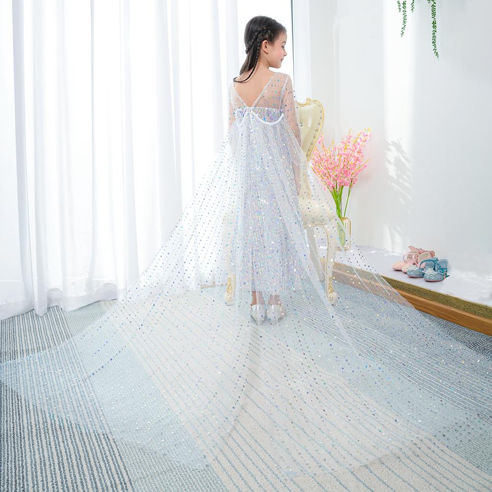 New Arrival Sequined Cô Gái Ưa Thích Ăn Mặc Trắng Cosplay Trang Phục Đảng Chúa Dài Áo Dài Tay Áo Elsa Dress BX1715